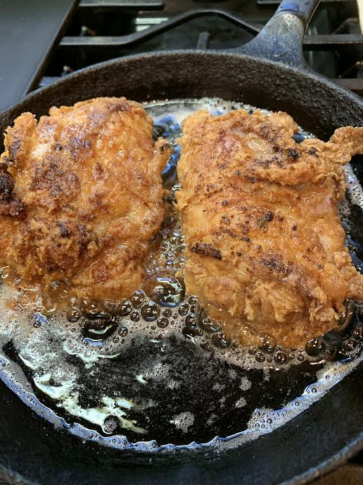 Fried Chicken in a cast iron skillet