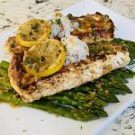 Seared halibut with lemon caper sauce