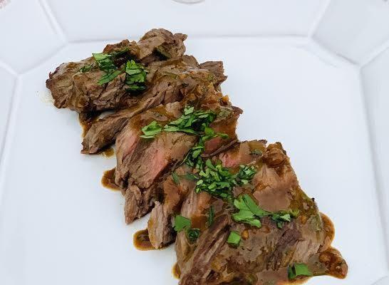 Skirt Steak with Mustard Sauce