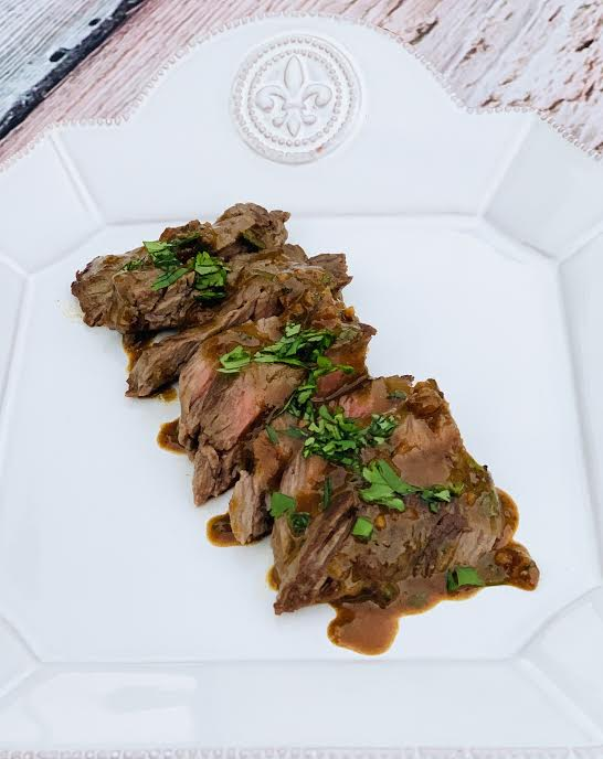 Skirt Steak with Mustard Sauce