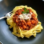 Bolognese Sauce with Wide Noodle Pasta