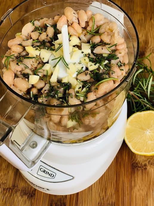 White beans, olive oil, lemon and rosemary