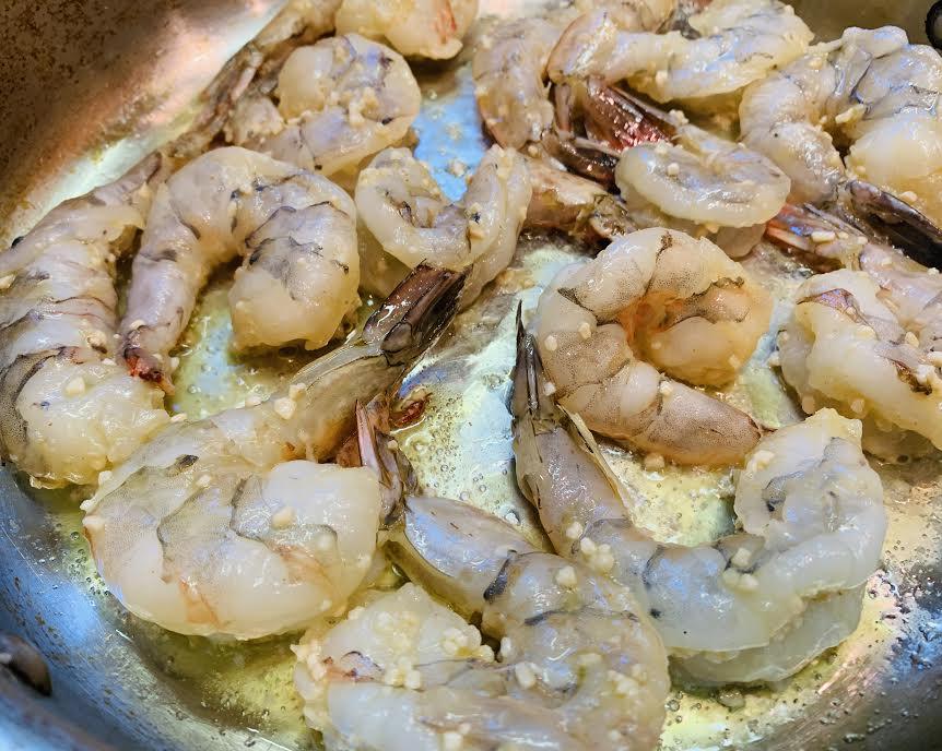 jumbo shrimp in a pan