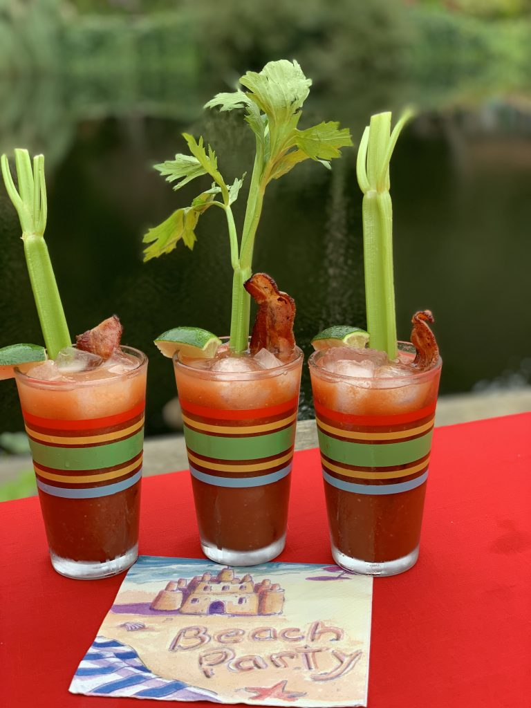 Bloody Mary's with celery and bacon