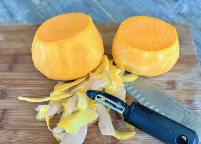 Butternut Squash peeled and cut in half