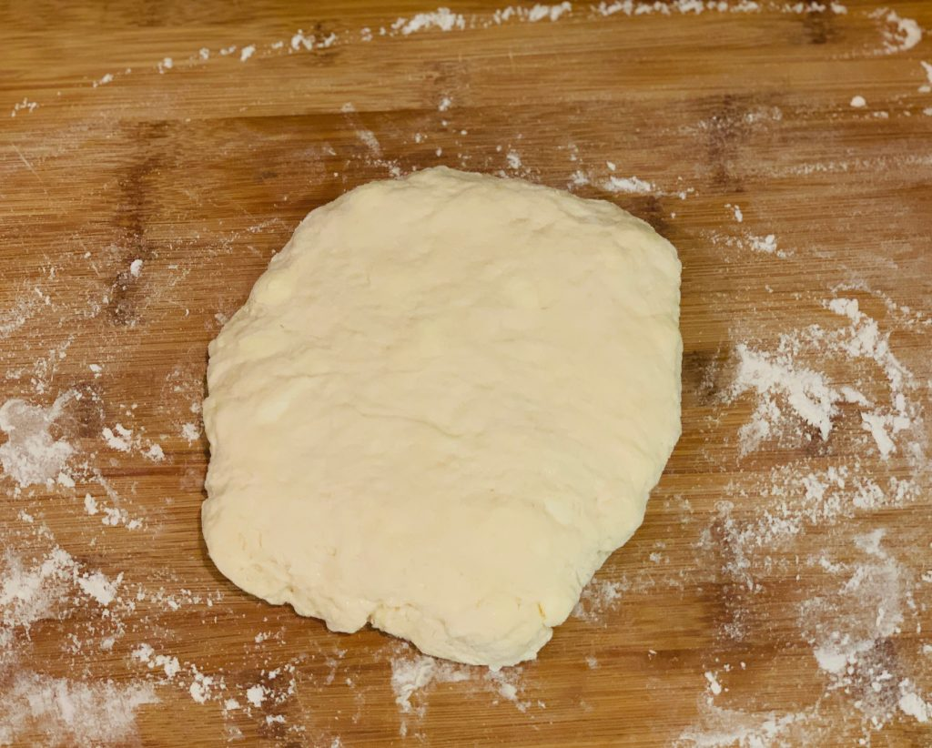 Biscuit dough ready to cut