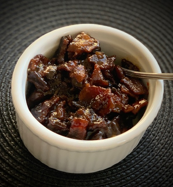Bacon Jam in a ramekin dish