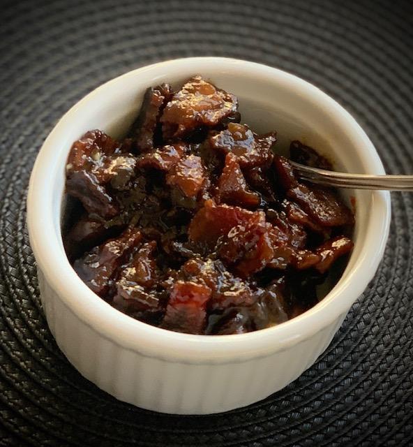 Bacon Jam in a ramekin dish
