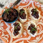 Bacon jam crostini with goat cheese