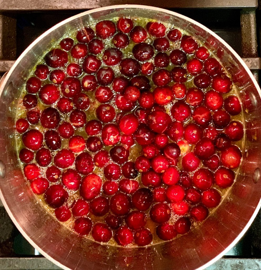 Cranberries in simple syrup