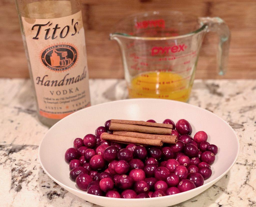 Ingredients for Cranberry Orange Liqueur