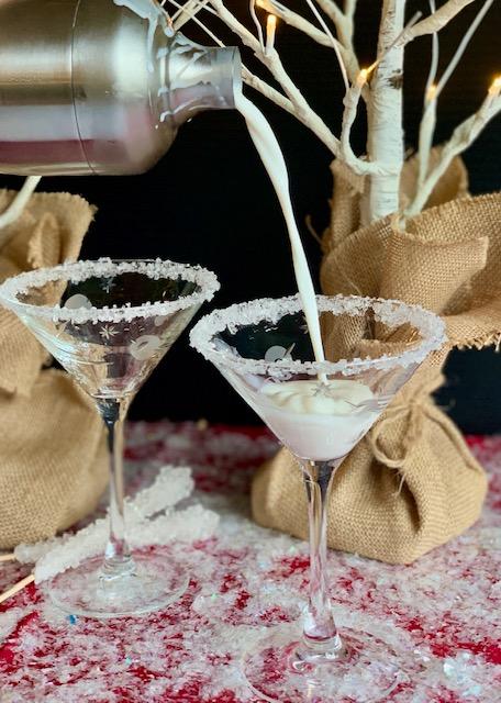 Pouring Snowflake Martinis