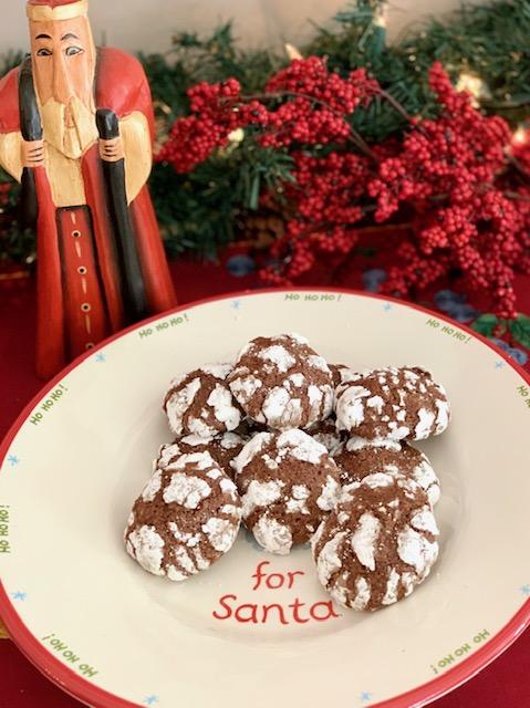 Dark Chocolate Crinkle Cookies for Santa
