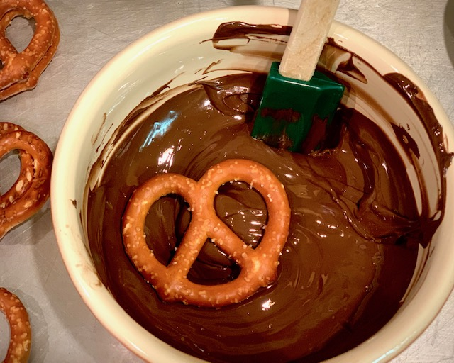 Pretzel dipped in chocolate