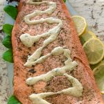 Salmon baked with Mustard Dill Sauce