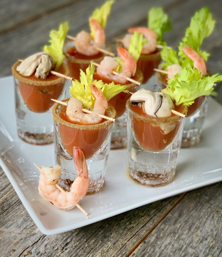 Bloody Mary Shooters with Shrimp and Oyster garnish