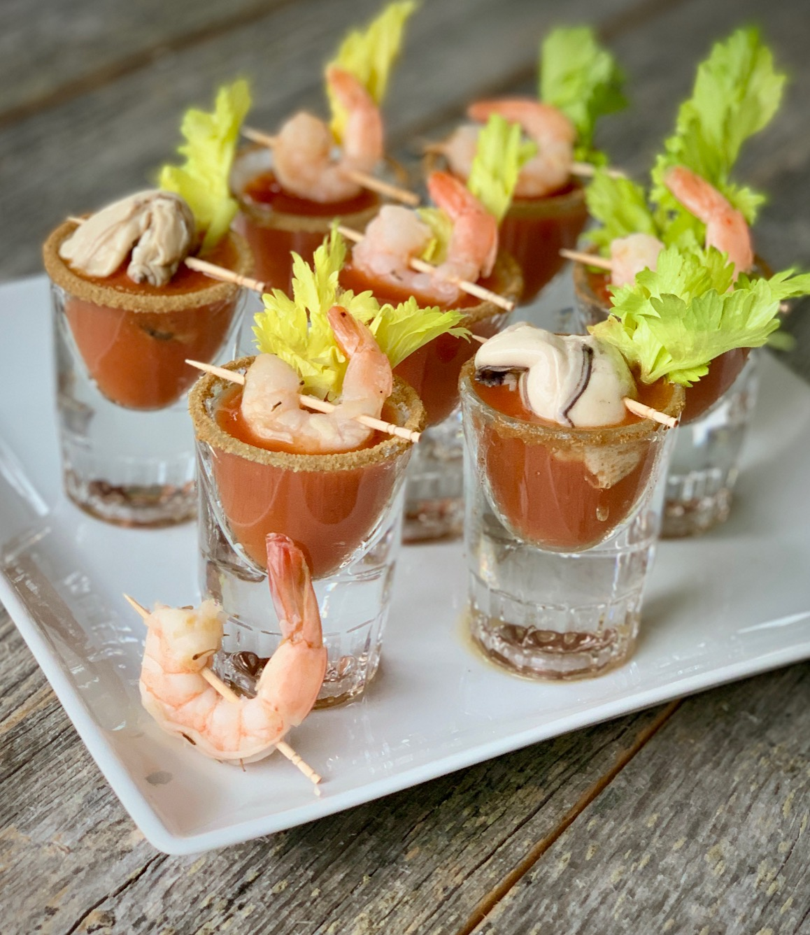 Bloody Mary Shooters with Shrimp or Oysters