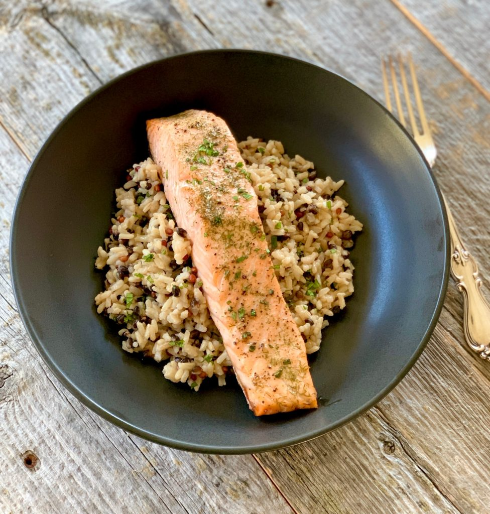 Salmon with fork