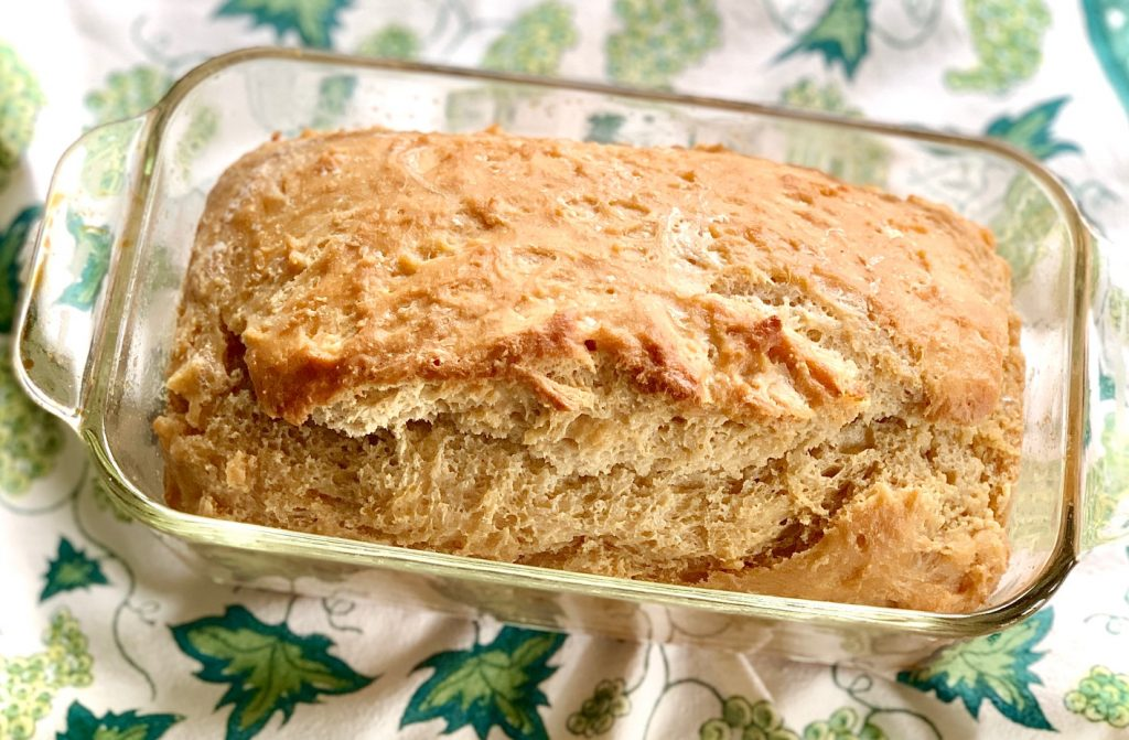 beer bread in a loaf pan