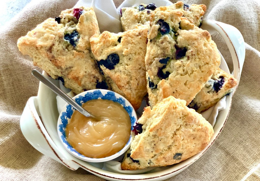 Blueberry Lemon Scones with lemon curd