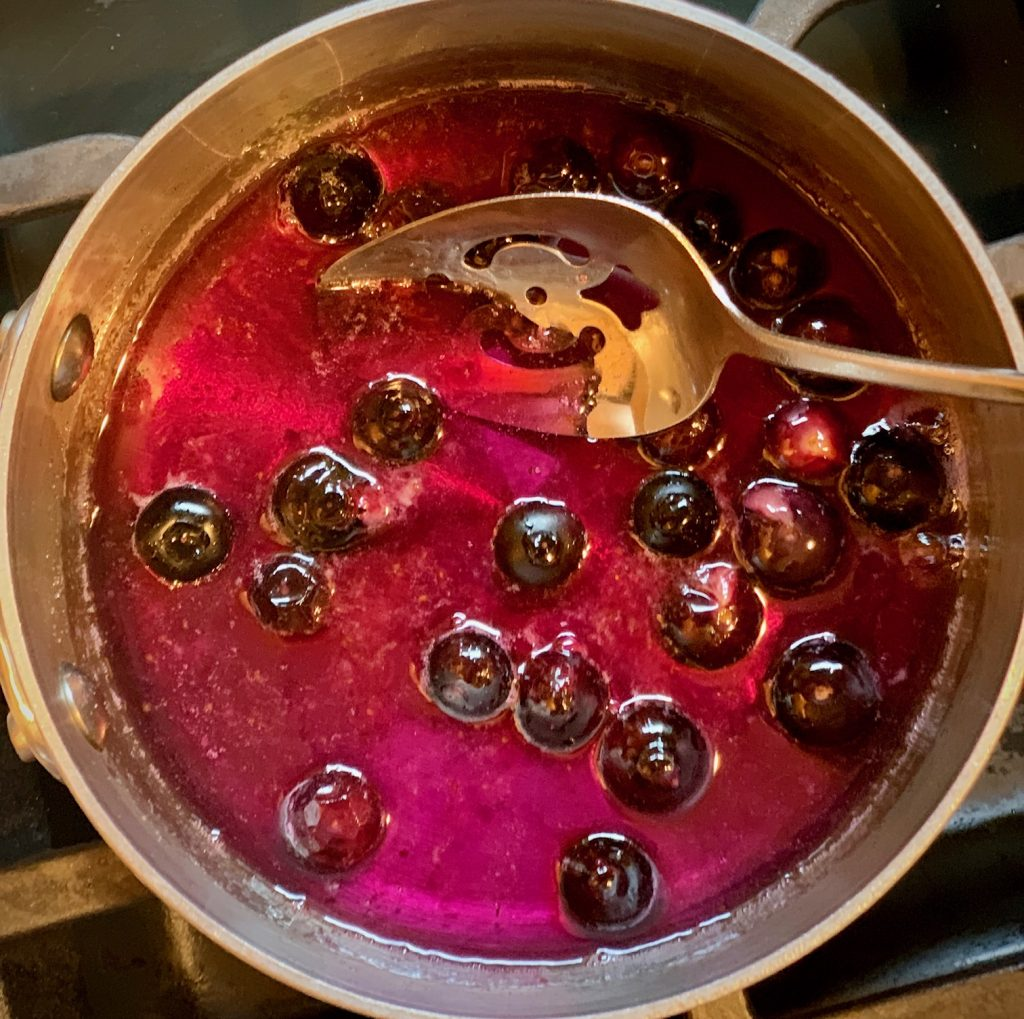 Blueberry Simple Syrup in process