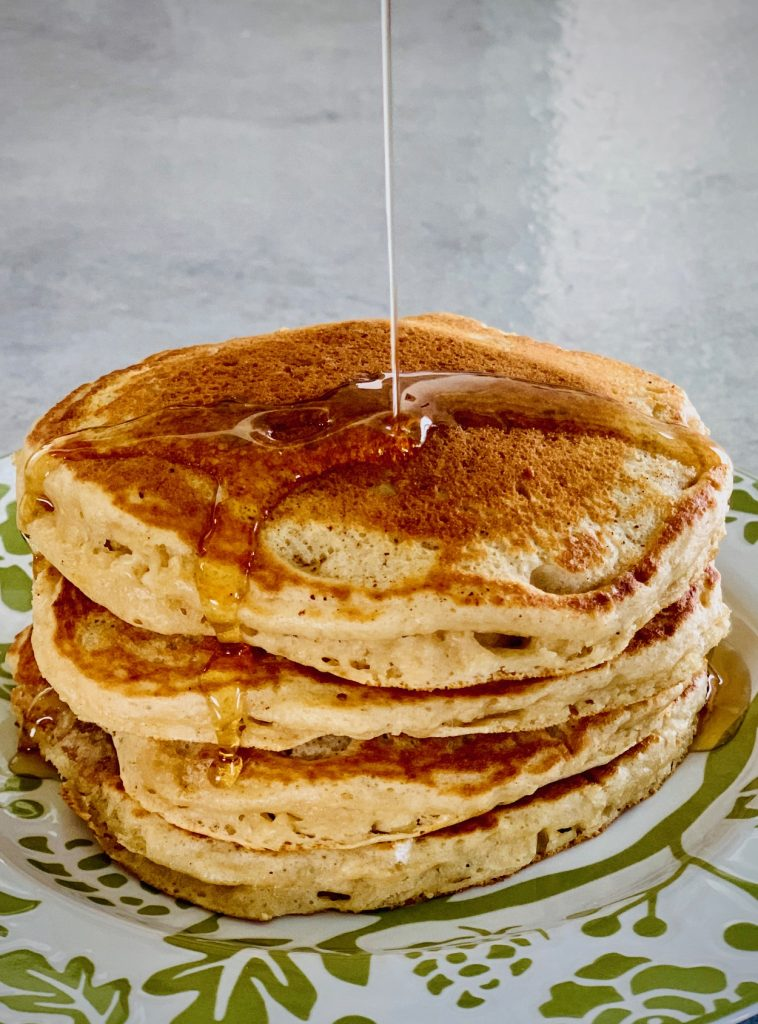 Homemade Buttermilk Pancakes with Syrup