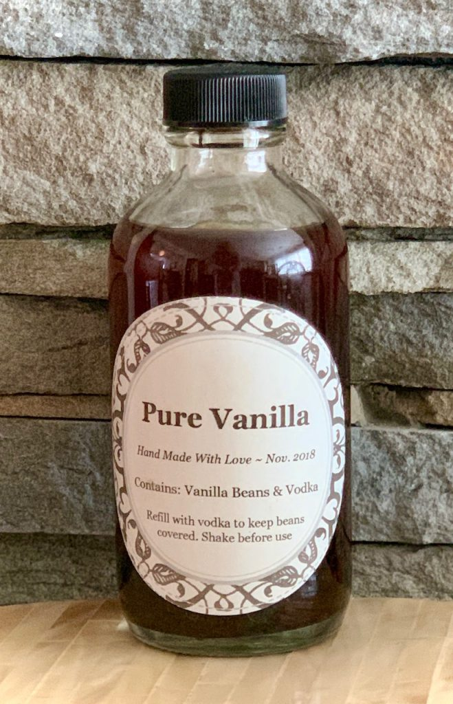 Homemade Vanilla Extract in bottle