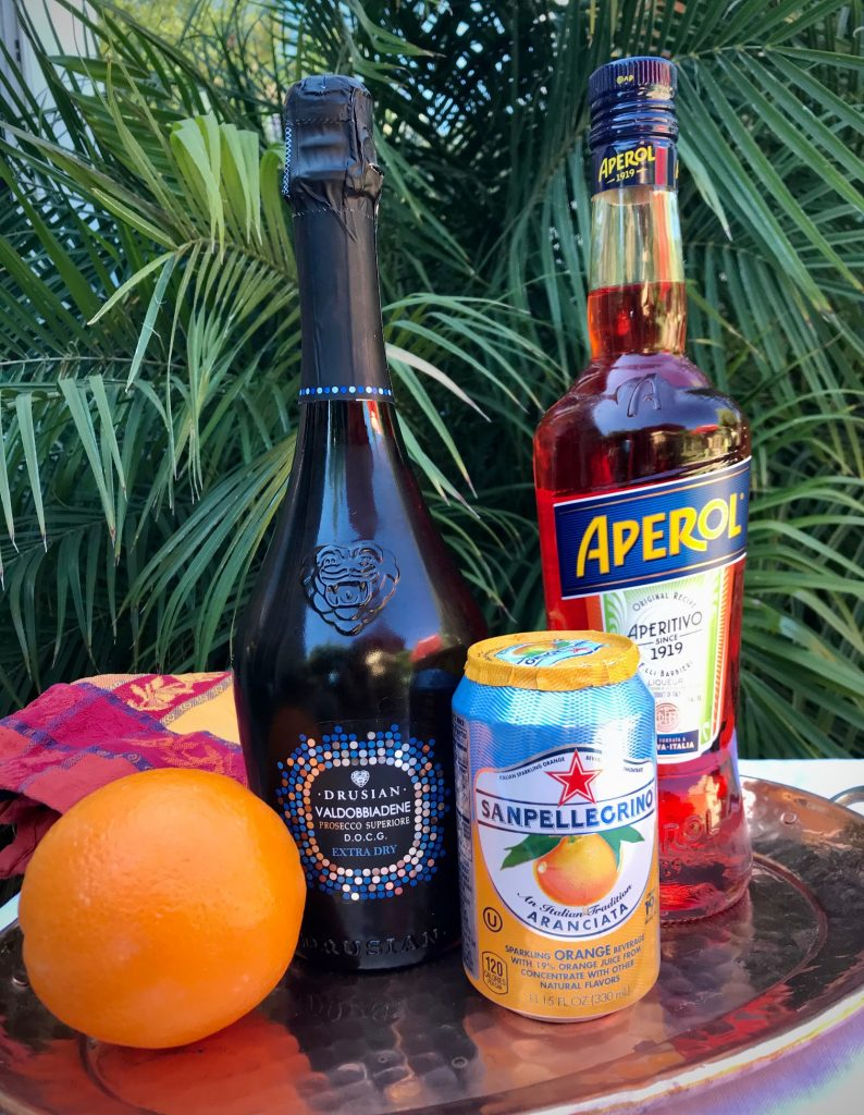 Aperol Spritz Ingredients on a tray