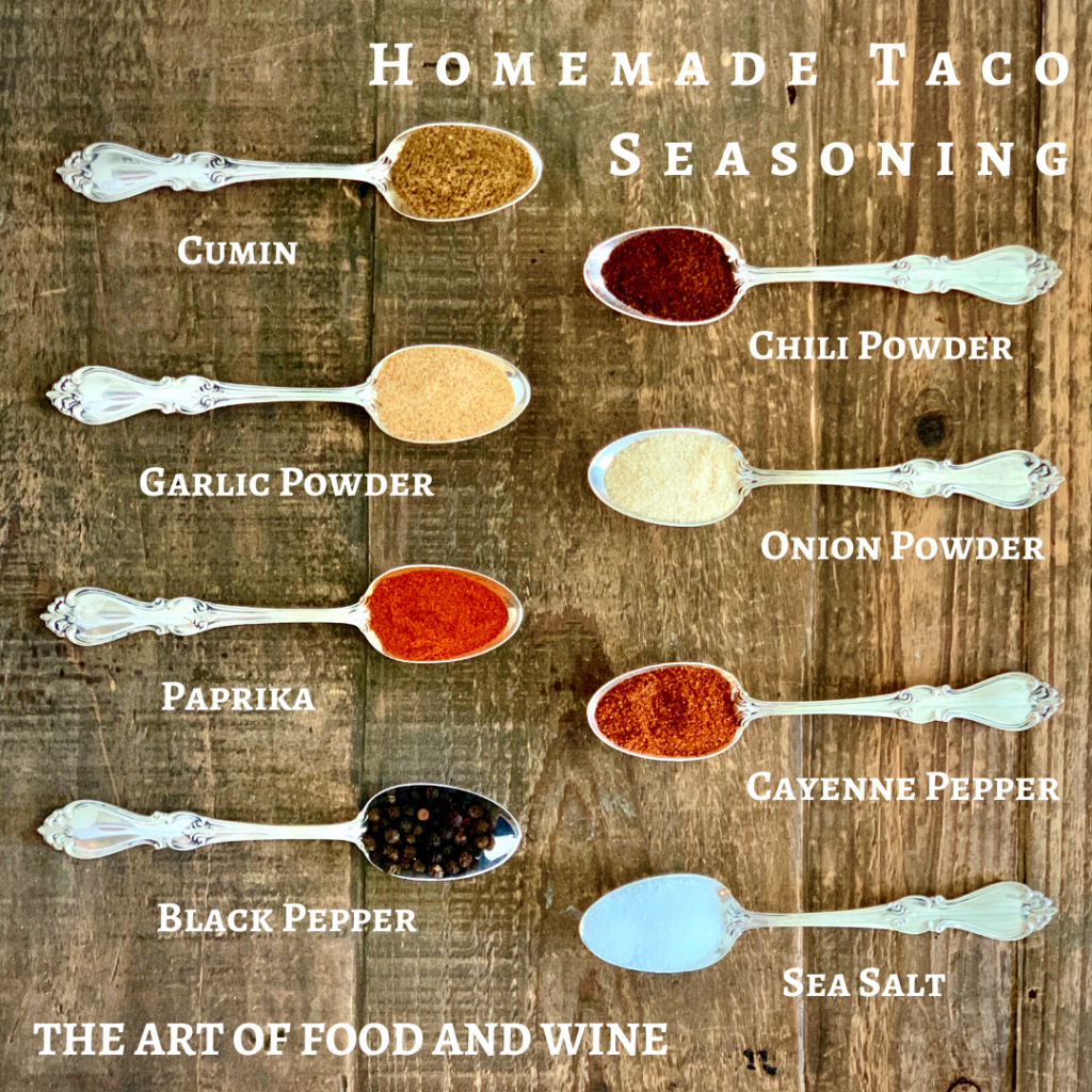 Homemade Taco Seasoning Mix on spoons