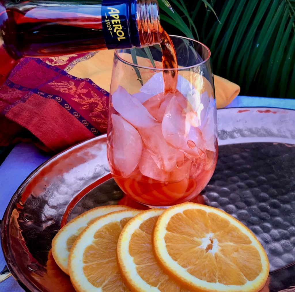 Pouring Aperol for a Spritz