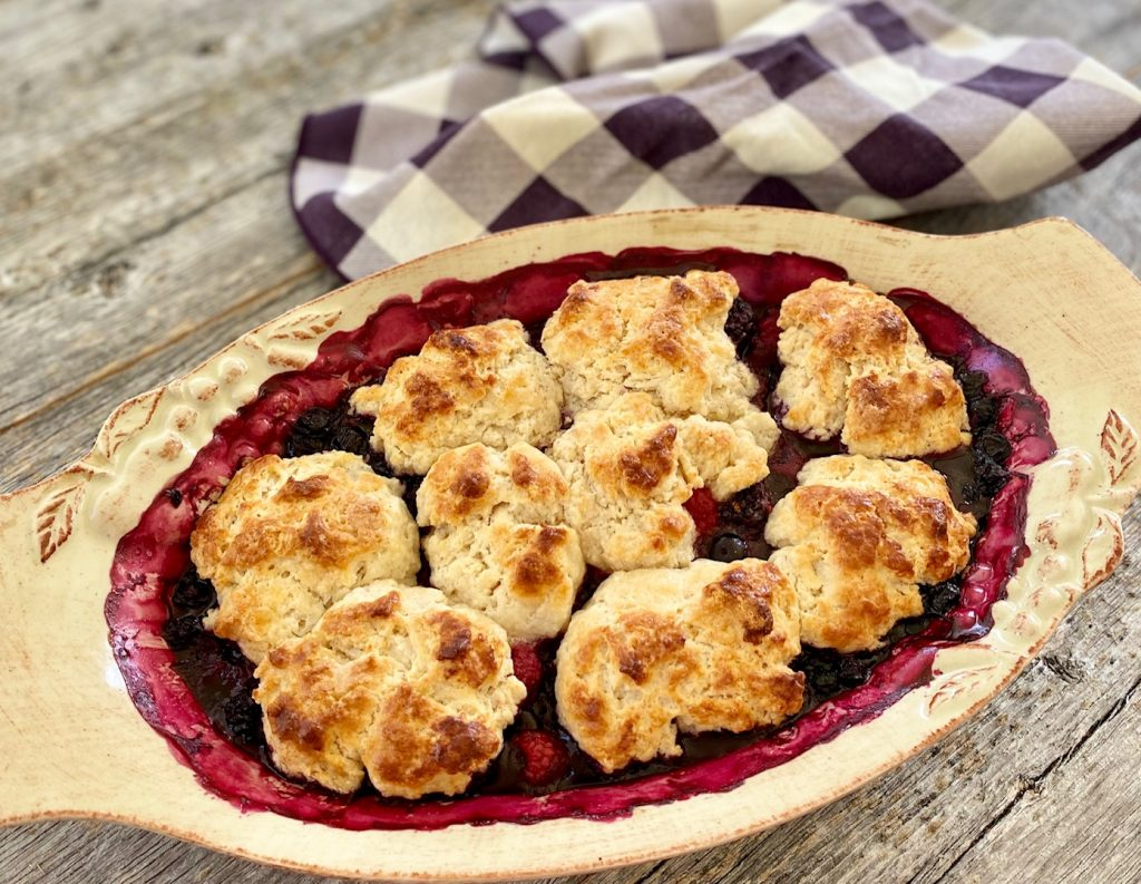Baked Mixed 3 Berry Cobbler