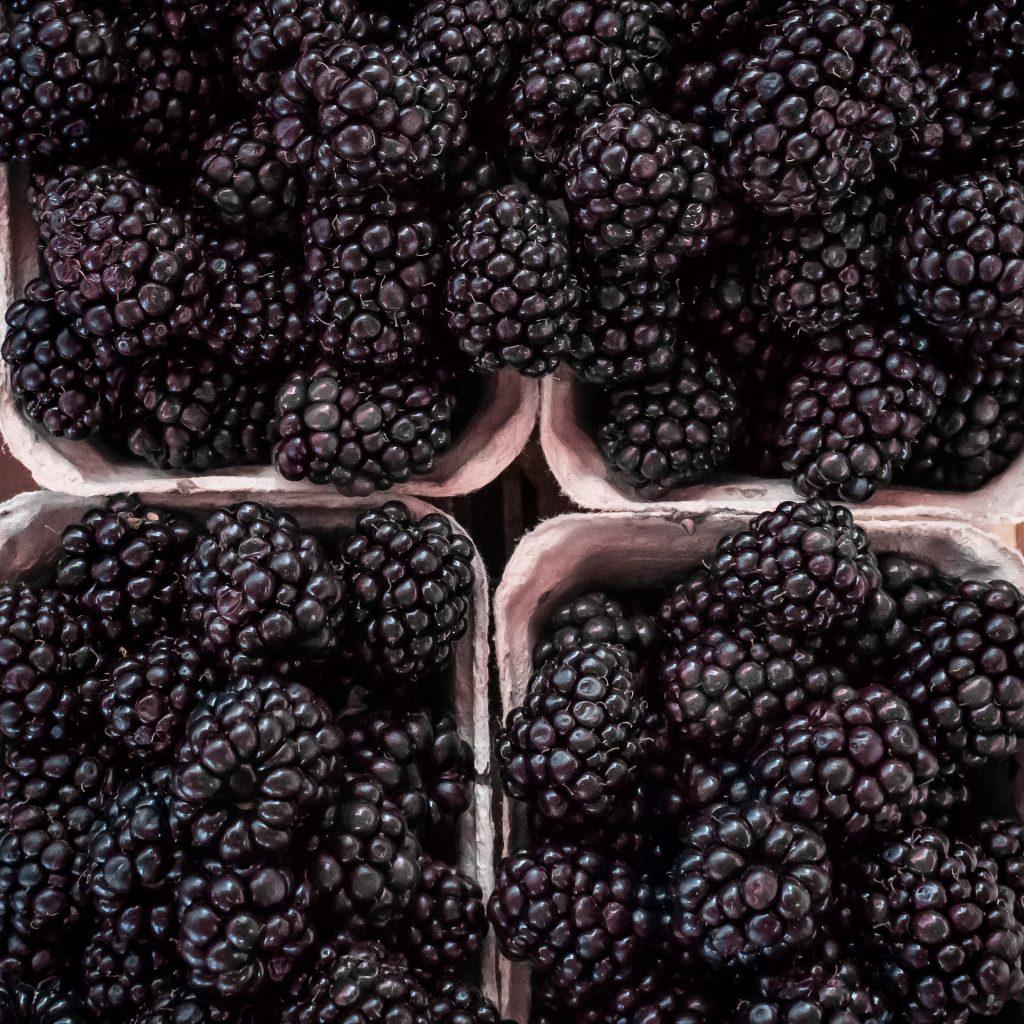 Blackberries in baskets
