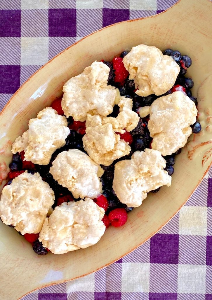 Cobbler ready to bake on purple napkin