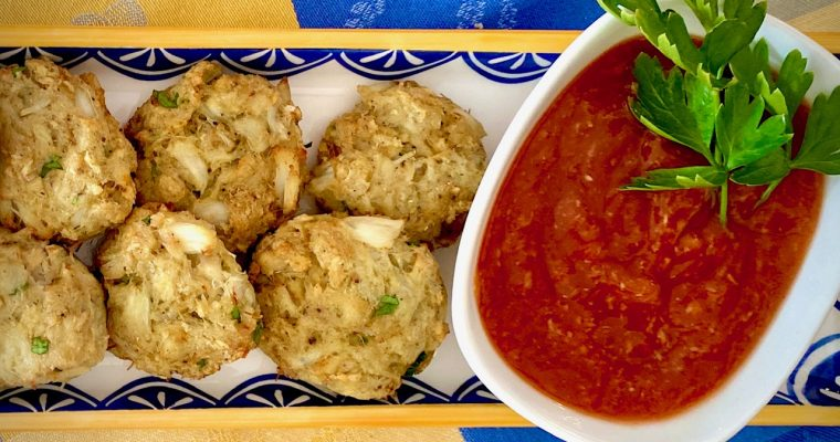 Crab Cakes with Cocktail Sauce