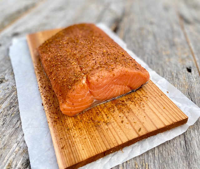 Cedar Plank Salmon with Potlatch Seasoning ready to grill