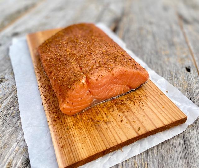 Cedar Plank Salmon with Potlatch Seasoning ready to grill