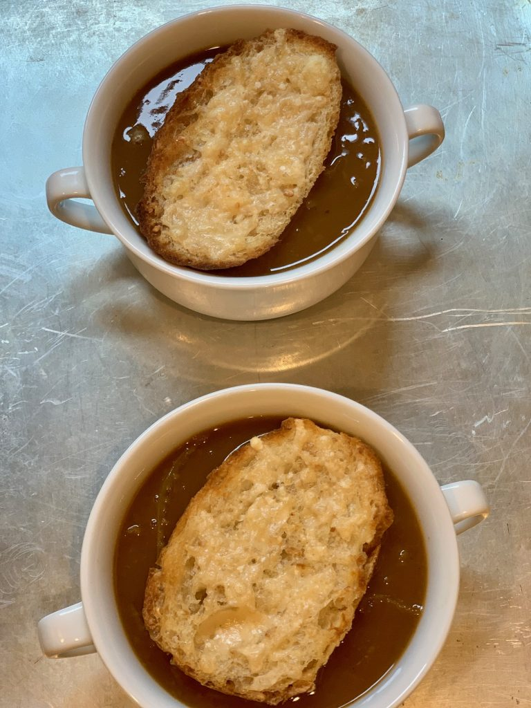Soup with toasted crouton