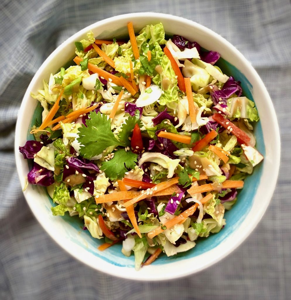 Asian Coleslaw with Peanut Dressing in a bowl