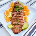 Chili Lime Pork Tenderloin grilled with citrus slices