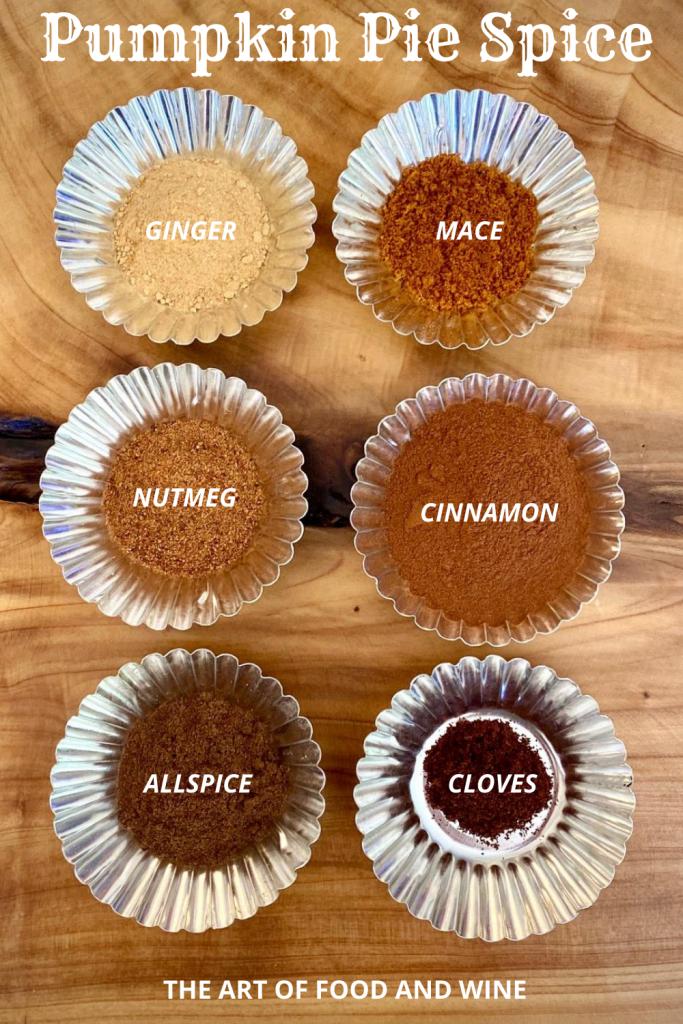 Pumpkin Pie Spice Mix ingredients in 6 tins