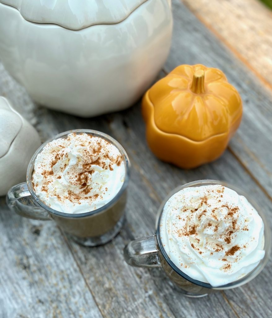 2 Pumpkin spice lattes with whipped cream