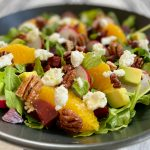 Arugula Beet Salad with goat cheese and avocado