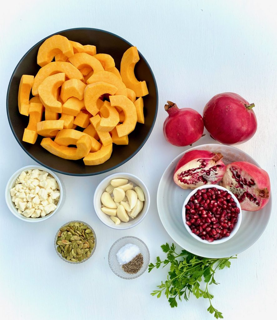 Ingredients for Butternut Squash and Pomegranate Recipe