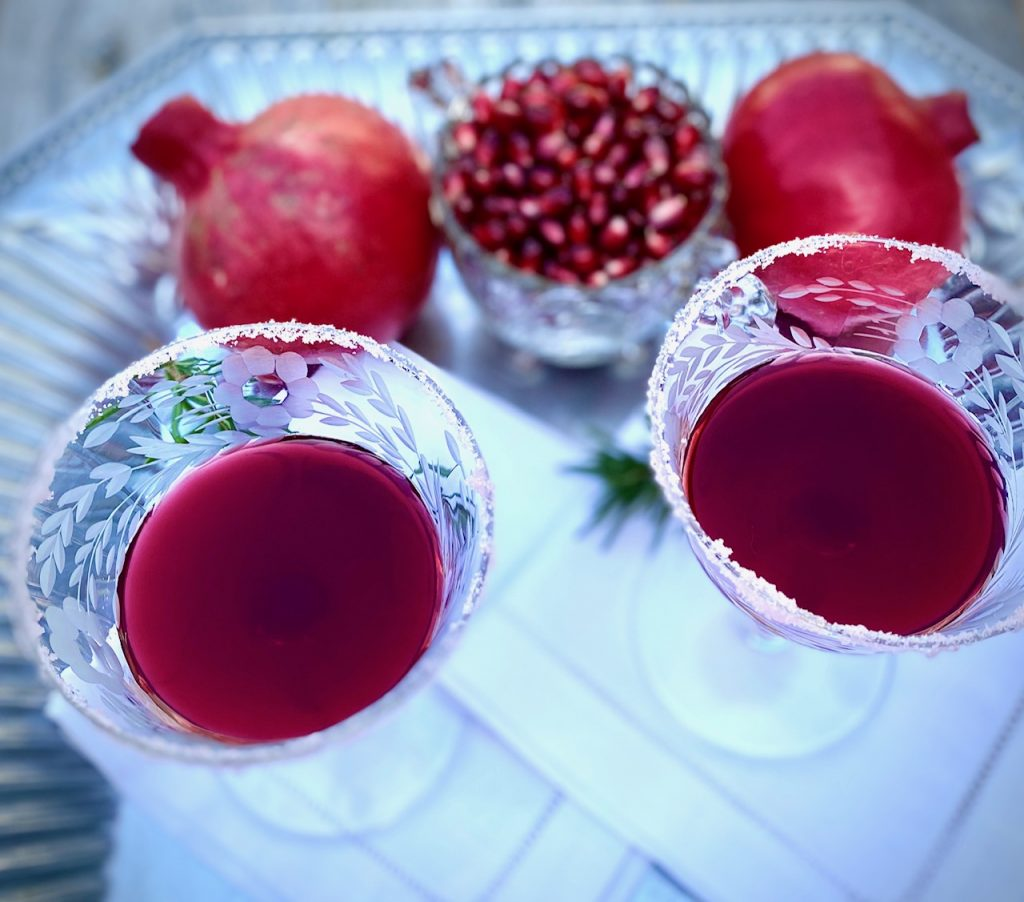 2 sugared cocktail glasses