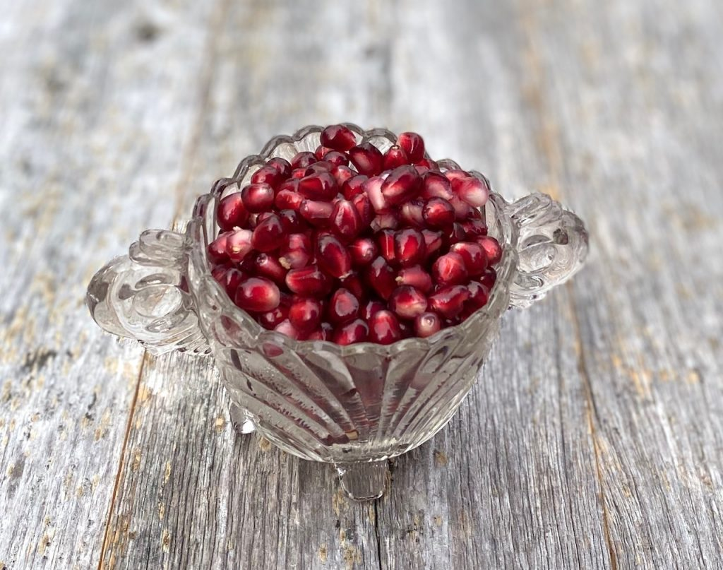 Pomegranate Seeds in a glass bowl