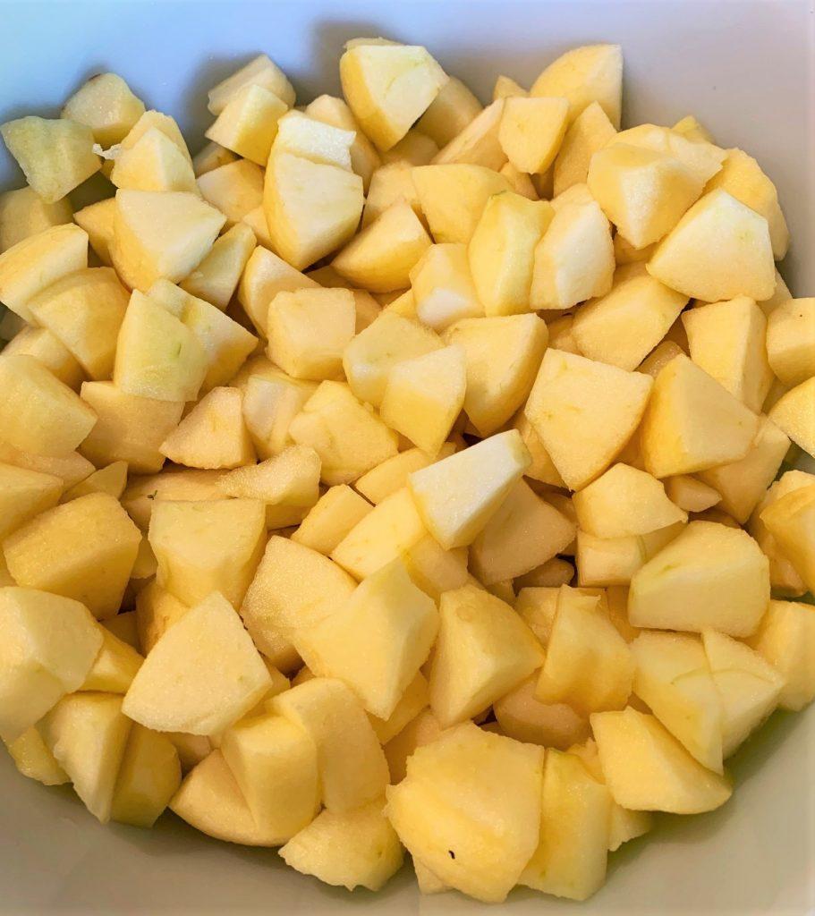 Cubed Honeycrisp Apples