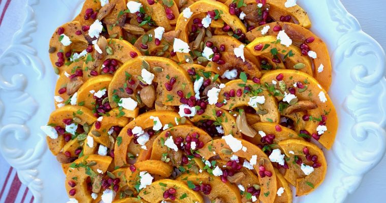 Platter of Roasted Butternut Squash with Pomegranate, Goat Cheese and Parsley
