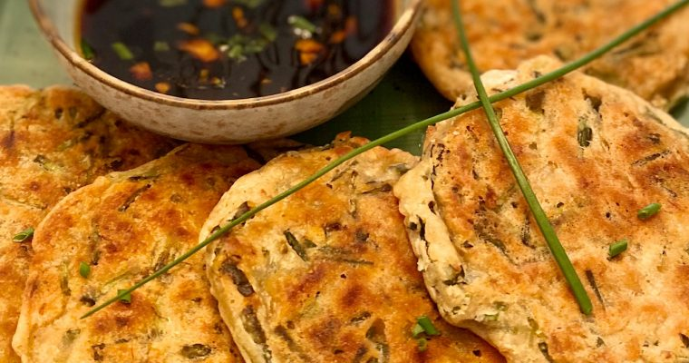 Scallion pancakes with Soy Ginger Dipping Sauce