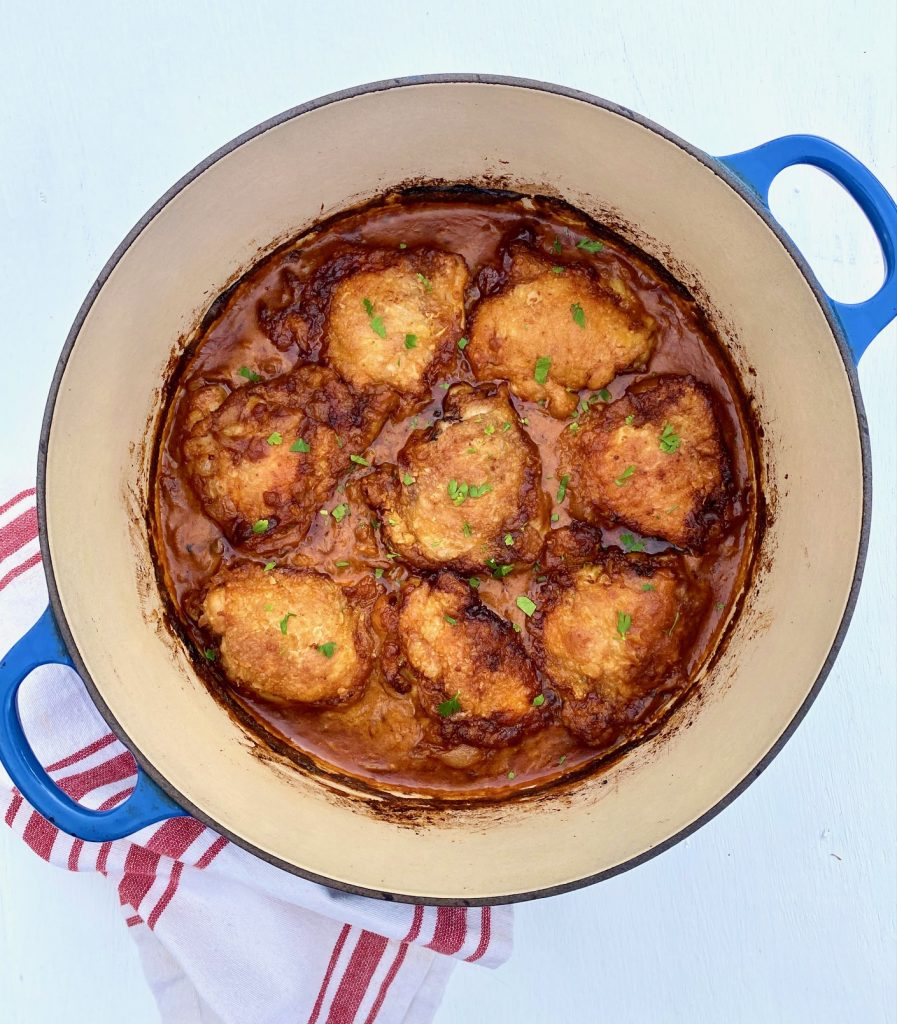 Chicken Paprikash in a blue pan