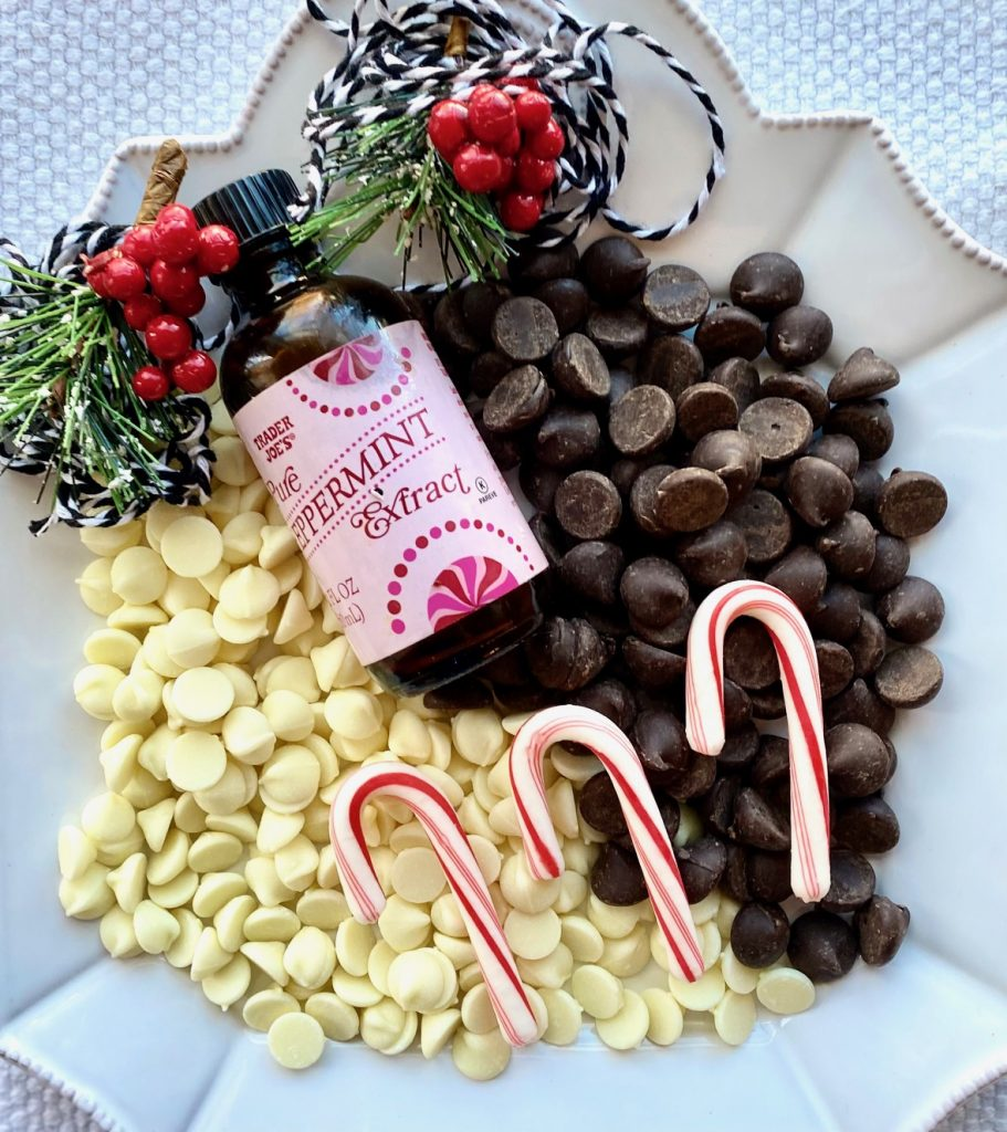 Ingredients for Peppermint BARK on a plate